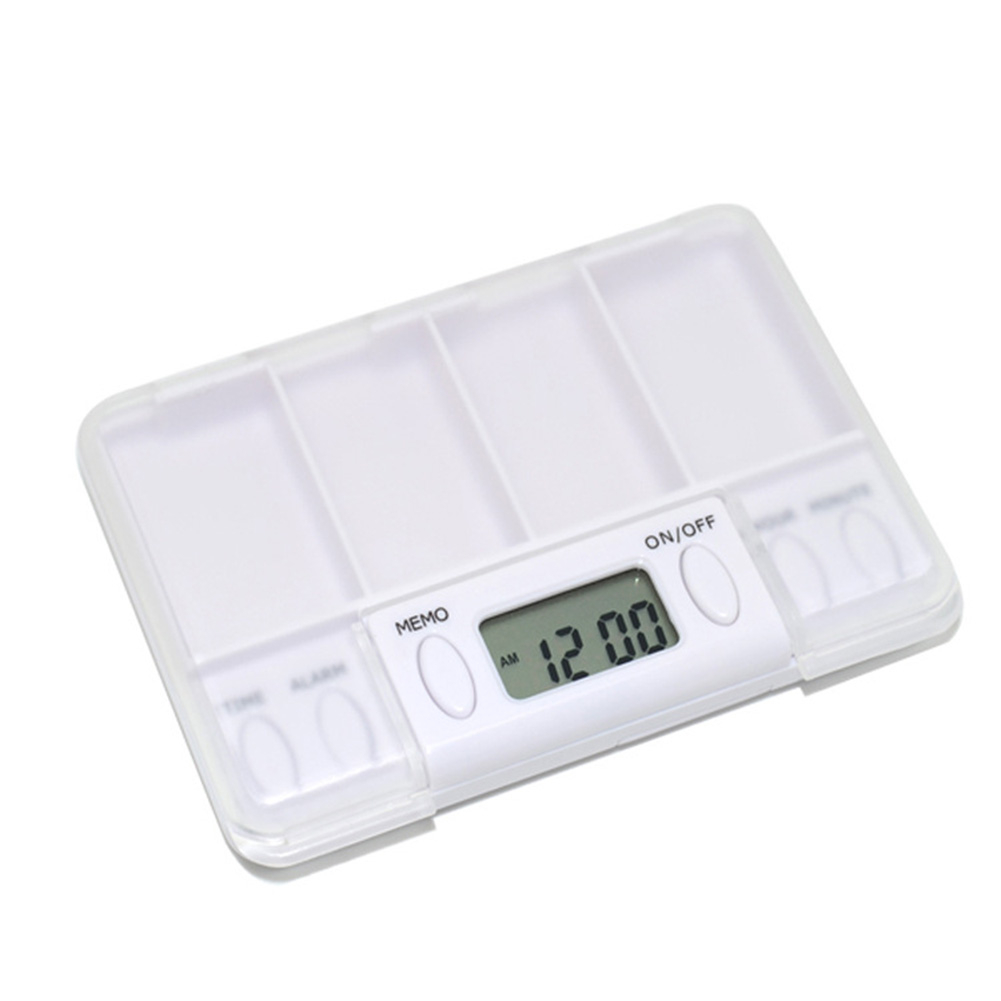 4 Grids Smart LCD Splitters Timer Organizer Portable Electric Alarm Travel Home Use Digital Medicine Reminder Pill Box