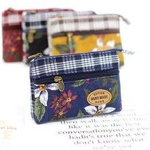 Monedero de tela de algodón multicapa con flores para mujer, cartera para tarjetas de mujer, bolso cambiador pequeño Retro de lona, bolsa de mano para mujer
