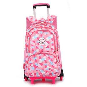 Image 2 - SIXRAYS çocuk erkek kız arabası Schoolbag bagaj kitap çanta sırt çantası son çıkarılabilir çocuk okul çantaları 3 tekerlekli merdiven