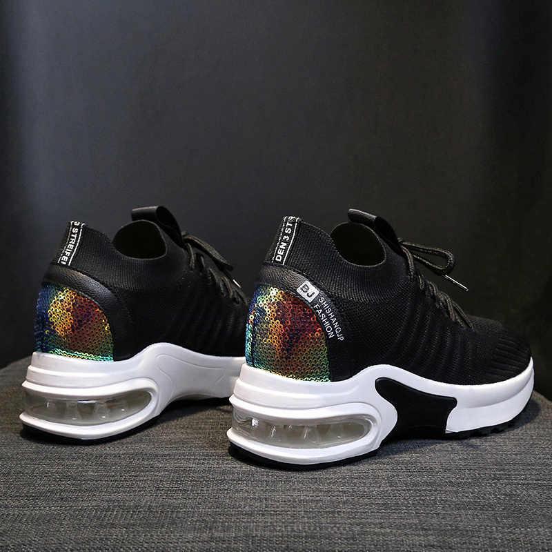 Platform Kadın Tenis Ayakkabıları hava yastığı Örgü Siyah Tıknaz Çorap Spor Ayakkabı Spor Koşu Spor Kadın Ayakkabı Sepeti Femme Tenis Feminino