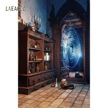 Laeacco Vintage Nhà Retro Kệ Đựng Chai Nước Ma Thuật Kênh Gương Hộp Sọ Bé Chụp Ảnh Chân Dung Phông Nền Chụp Ảnh Nền Phòng Thu