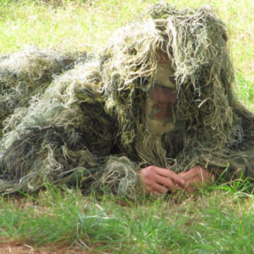 Durable Outdoor Woodland Sniper Ghillie Suit Kit Cloak Military 3D Leaf Camouflage Camo Jungle Hunting Birding New