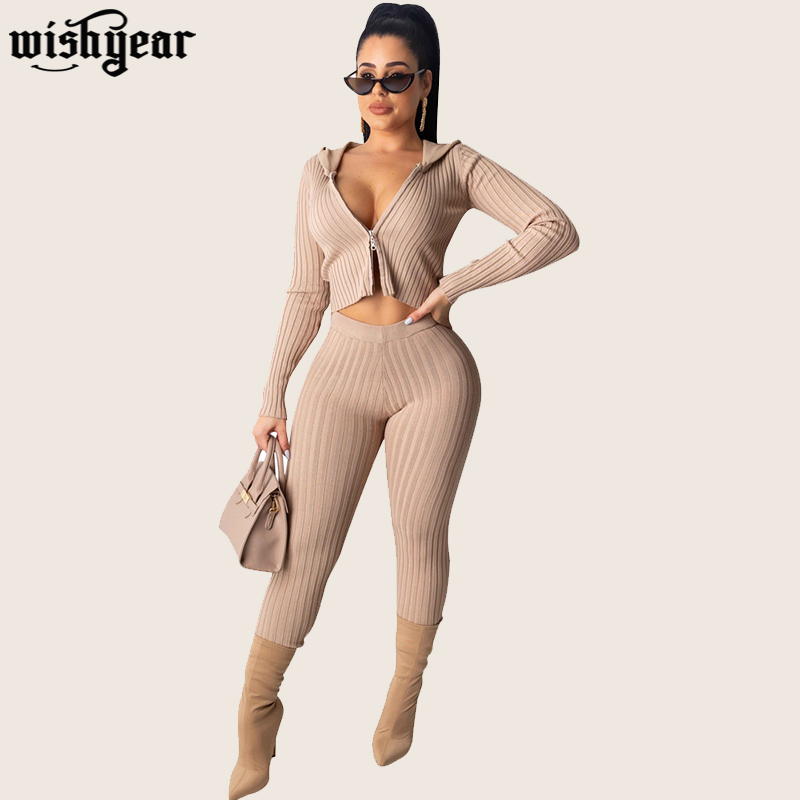 Sexy Ribbed Two Piece Set Zipper Long Sleeve Hooded Jacket Crop Top+Skinny Pencil Pants Night Club Knitted Tracksuits