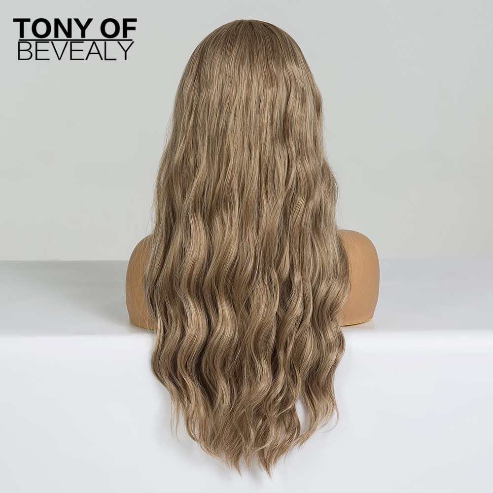 Image 3 - Synthetic Wigs Long Wavy Light Brown Natural Hair Wigs With Bangs for Women African American Fluffy Hair Heat Resistant FiberSynthetic None-Lace  Wigs   -