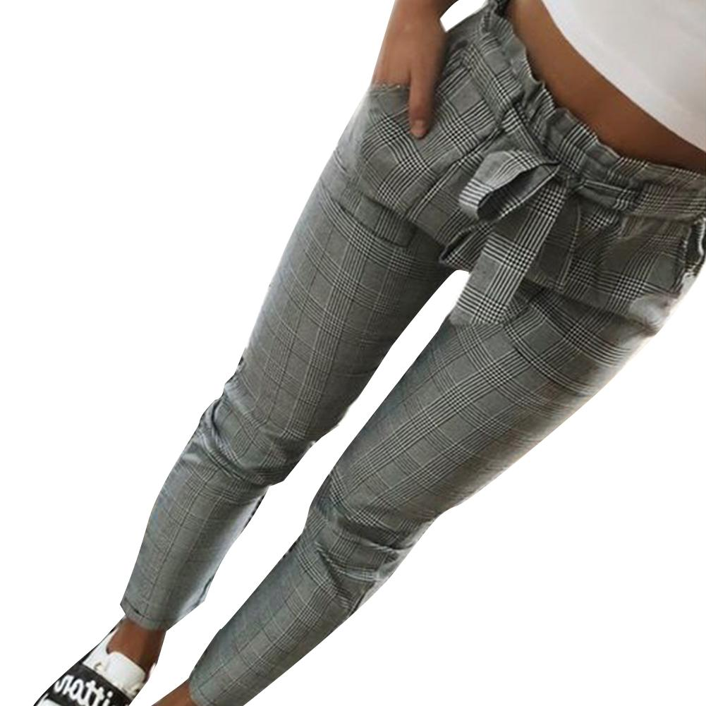 Women Fashion Plaid Pleated High Waist Skinny Pencil Pants Trousers With Sash Sporting Black Casual Streetwear