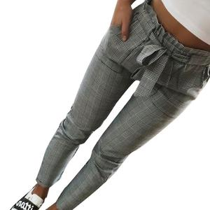 Women Fashion Plaid Pleated High Waist Skinny Pencil Pants Trousers with Sash Sporting Black Casual Streetwear