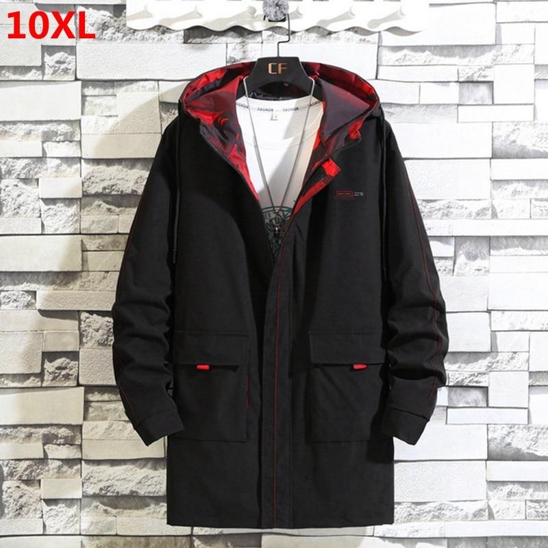 2019 Large Size Autumn Overcoat Long Hooded Windbreaker 10XL9X Male Jacket Men's Tooling Jacket Loose 300 Kg Top