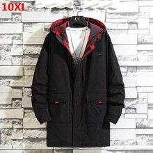 Jacket Windbreaker Overcoat Hooded Autumn Male Men's Long Top 10XL9X 300-Kg Tooling Loose