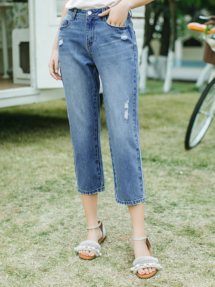 INMAN 2020 Summer New Arrival Pure Cotton Personality Fashion Hole Concise Style All-match Pencil Pants