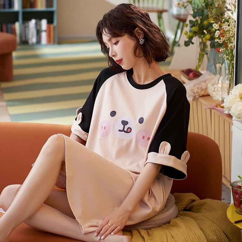 Recente verão kawaii camisola de cetim para as mulheres 100% algodão pjs moda camisola macia atoff casa seda homewear pijamas
