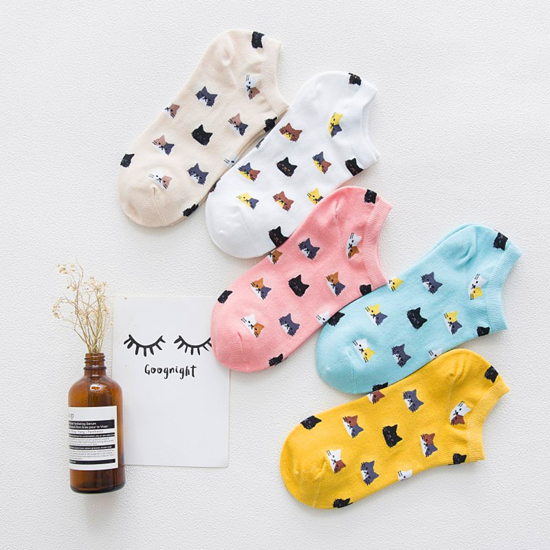 5 Pairs New Women Cotton Ankle Socks Cute Cat Comfortable Candy Color Funny Socks Casual Animal Cartoon Socks For Girls