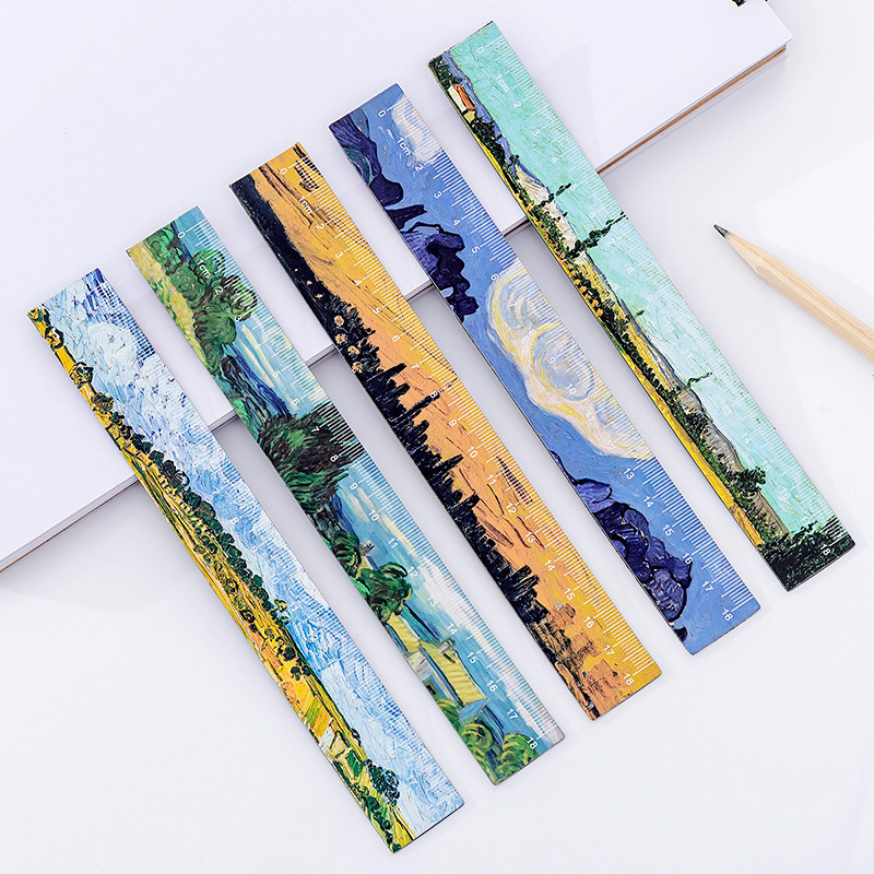 1pc Cartoon Van Gogh Oil Painting 18cm Flexional Straight Ruler Lovely Magnetic Bookmark Ruler Painting Learning Stationery