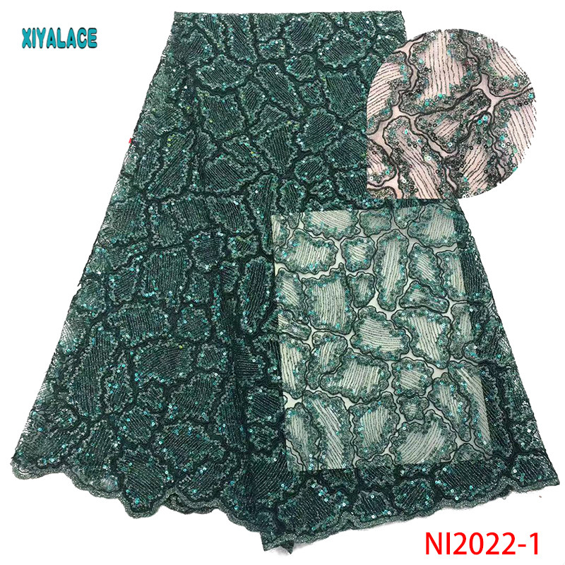 Unique Tassel Design African Sequins Net Lace Fabric High Quality 2019 Nigeria Indian Embroidery Guipure Mesh Lace YANI2022-1