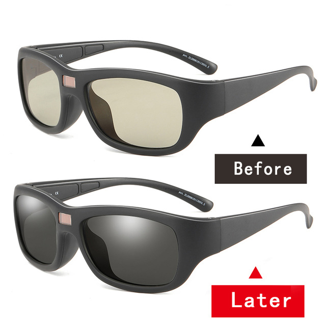 0 1second color change polarized photochromic sunglasses transition lens men discoloration glasses UV driving Chameleon eyewear in Men 39 s Sunglasses from Apparel Accessories