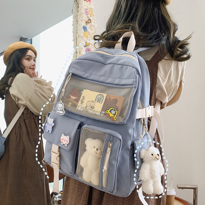 JULYCCINO New Buckle Badge Women Backpack Candy Color Fashion Cute Schoolbag Shoulder Student Bag Teenage Girls College Backpack