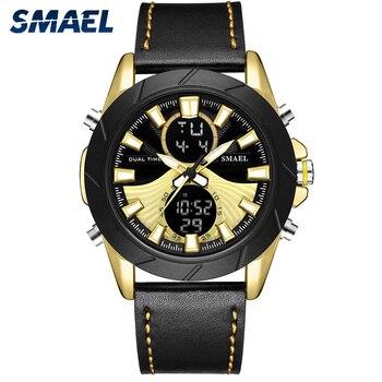 SMAEL черные кварцевые часы Брендовые Часы наручные, спортивные, военные мужские Водонепроницаемые кожаные часы будильник повседневные модн...