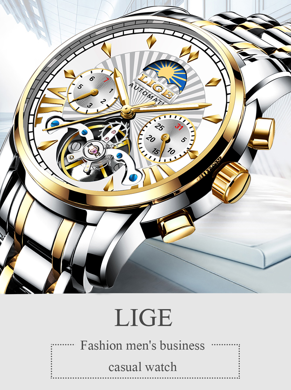 LIGE Mens Watches Brand Luxury Mechanical