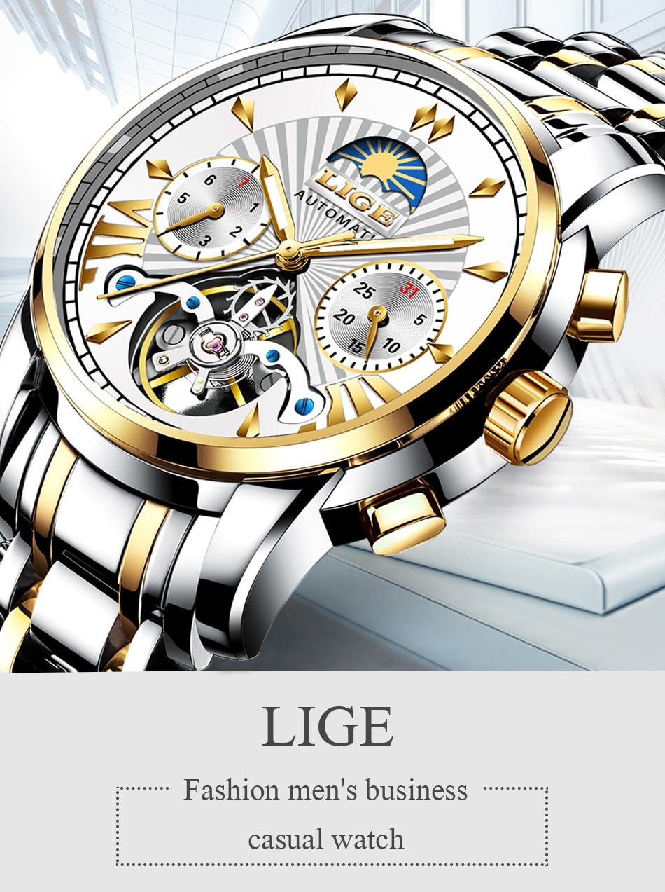 Hfaa6c7c8d4264413af6a093cdea08c91r LIGE Official Store Mens Watches Top Brand Luxury Automatic Mechanical Business Clock Gold Watch Men Reloj Mecanico de Hombres