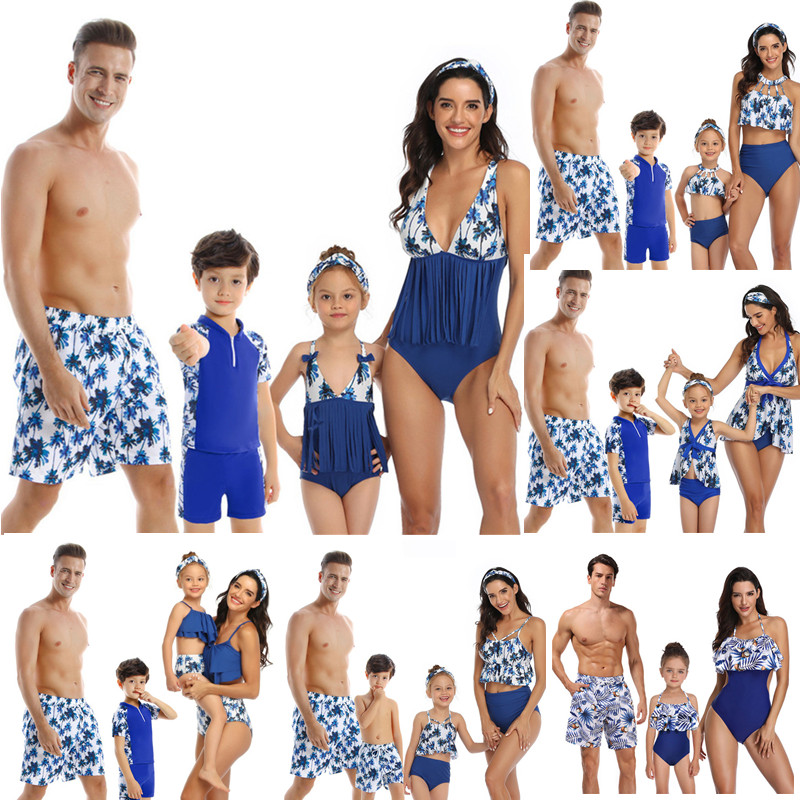 Family Matching Swimwear Mom Daughter Taseel Leaf Blue Bikini Dad Son Bathing Suit Women Men Couples Outfits Girls Boys Swimsuit