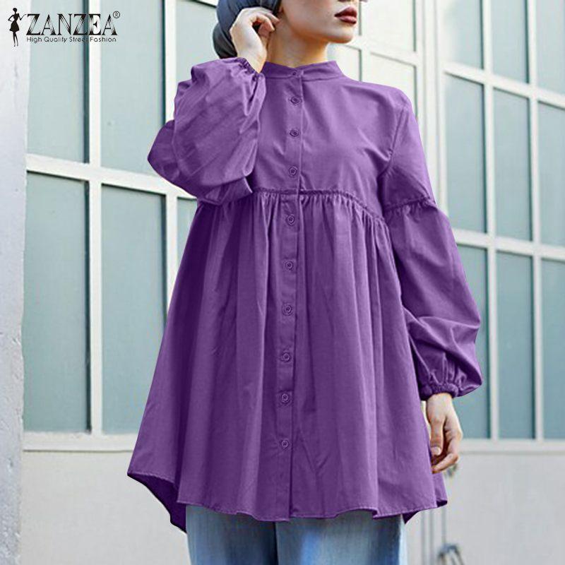 Loose Ruffle Lace Up Button Blouse Women's Spring Solid Blusas Fashion Muslim Tops ZANZEA 2021 Elegant Puff Sleeve Plus Size