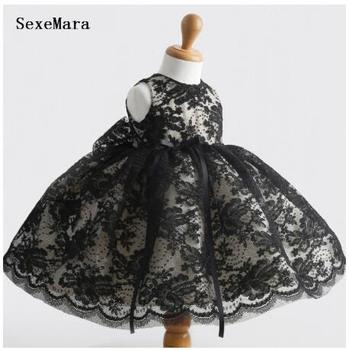 Black lace Baby Girl Dress kids first year Birthday party Dress thanksgiving gowns christening dress baptism gown
