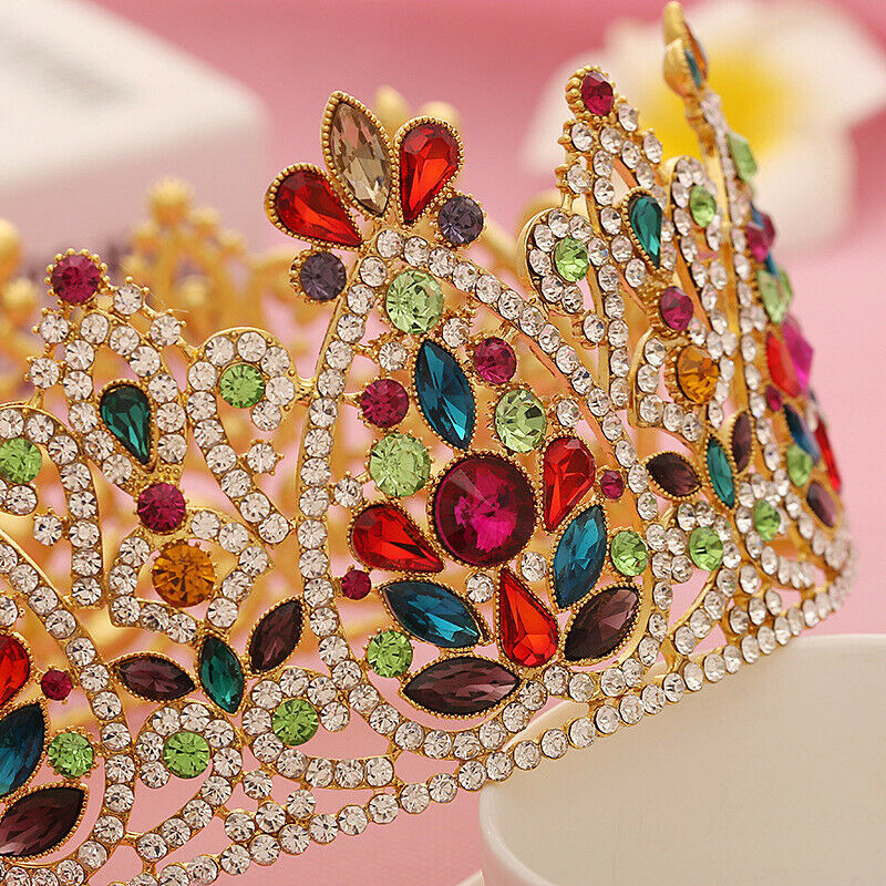 Colorful Crystal Retro Accessory Queen Tiara Crown Party Hair Headdress Headband Bridal Royal Halloween Jewelry Vintage