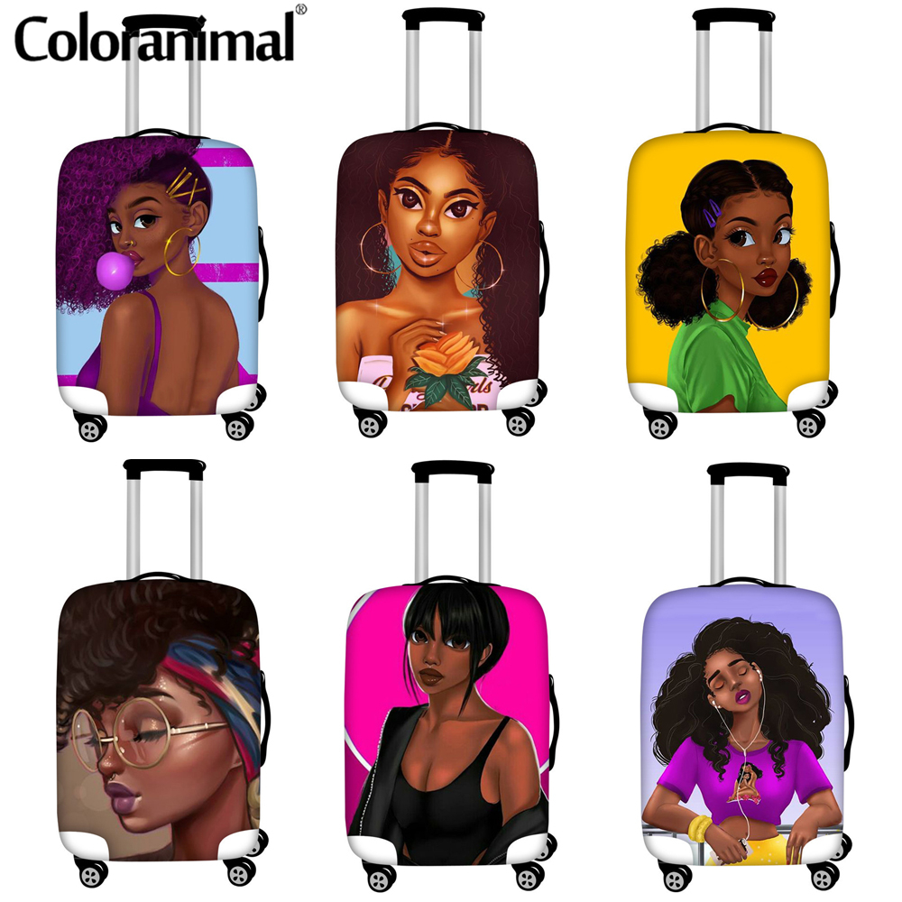 Coloranimal African Girls Printed Thick Elastic Luggage Protective Cover Zipper Large Size 18-32 Inch Suitcase Cover Walizka