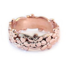 Fashion Women Ring Cute Alloy Flower For Accessories Female Engagement Wedding Jewelry Girl Gift
