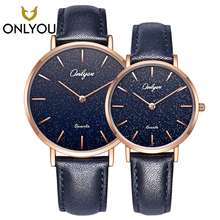 ONLYOU Fashion Lover Watches Couple Casual Creative Design Starry Quartz Wristwatches Women Elegant Clock 328001 onlyou lover watches men business gold watch for women fashion dress quartz clock ladies luxury wristwatches wholesale gift