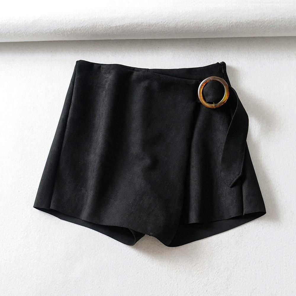 2019 England Style Women Solid Color Casual Suede Shorts Ladies High Waist Side Zipper Shorts Belt Design Pantalones Cortos P546