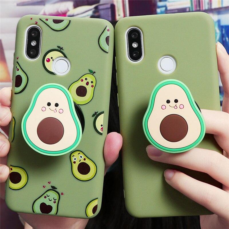Avocado Daisy Stand Phone Holder Case For Xiaomi Redmi Note 9 9S 8 8T K30 K20 7 6 5 Pro Max S2 7A 8A 6A 5A Case Cover Coque TPU