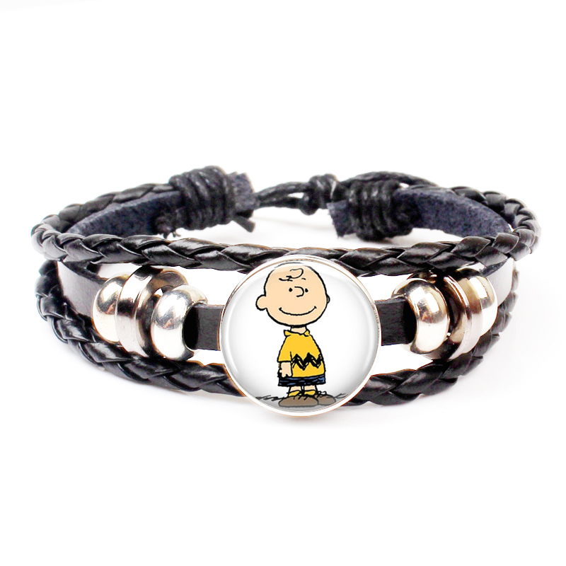 New Cute Cartoon Linus Woven Leather Bracelet Peanut Jewelry Fashion Crystal Bracelet Party Holiday Souvenir Gift Charm Handmade in Charm Bracelets from Jewelry Accessories