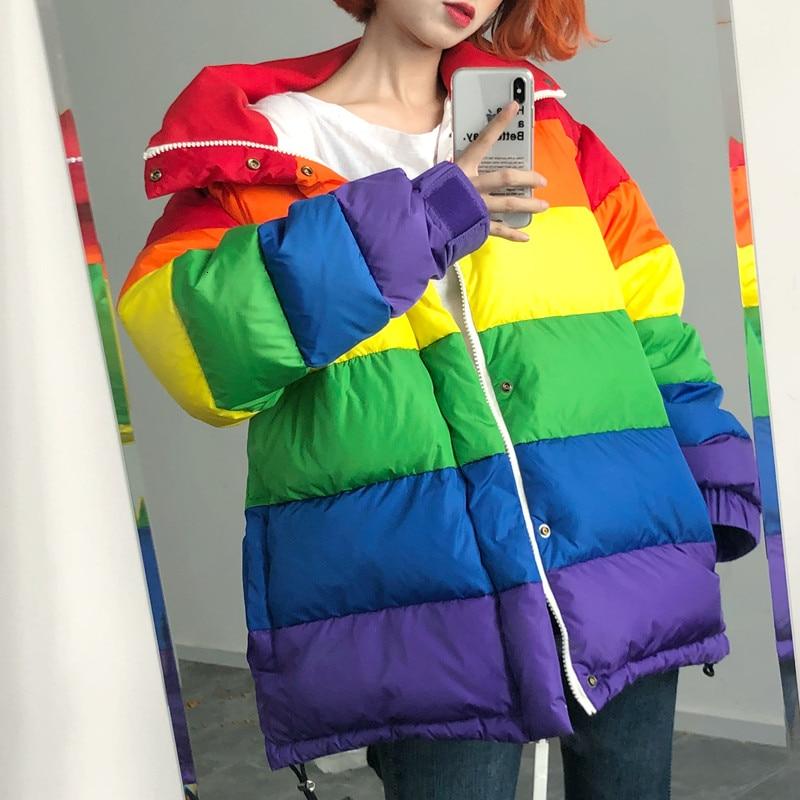 2019 women   down   jackets rainbow Winter thickening parka women streetwear Plus Size Loose Striped   Coat   Femme Chaqueta Mujer YRF78