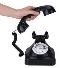 Vintage antiguo teléfono con cable de línea fija gran botón Dial para el escritorio de la oficina en casa telefono fijo para casa pedestal antideslizante