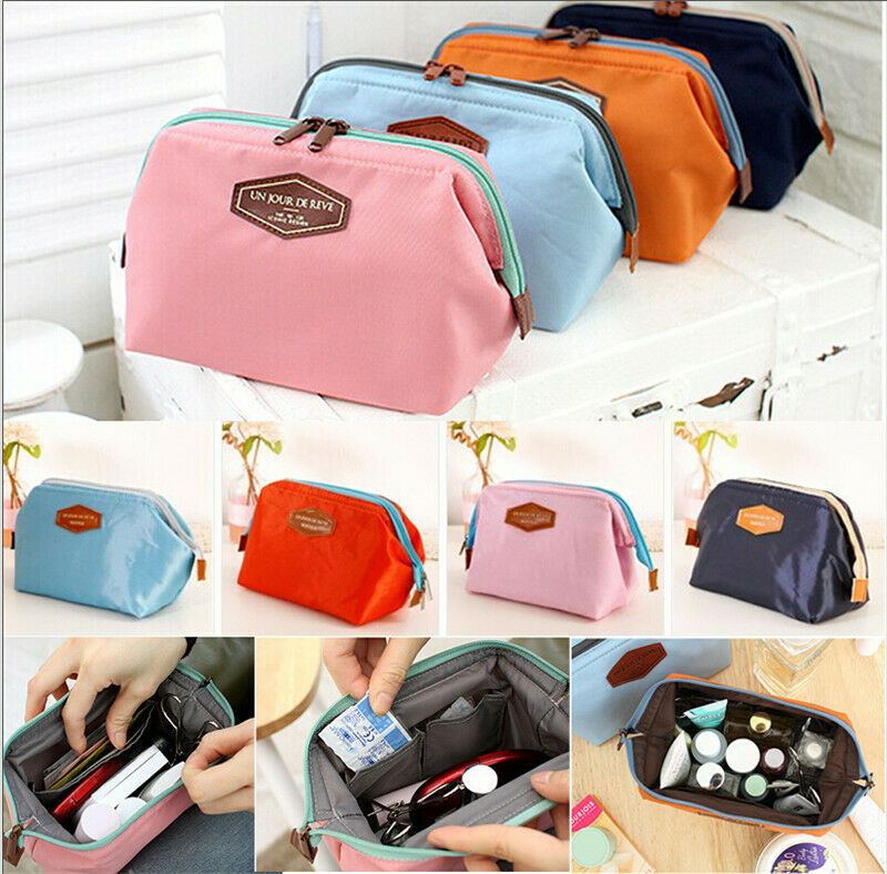 Unisex Travel Makeup Cosmetic Toiletry Case Wash Organizer Storage Pouch Bag Solid Zipper Large Capacity Casual Style