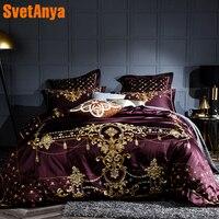 Luxury Noble European Wine Red Duvet Cover Set Soft Egyptian Cotton Bedlinens 4/6pcs Queen King Size Bedding Set Cushion Covers
