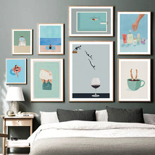 Abstrait nordique affiche plage mer plongée vin verre tasse à café nager mur Art impression toile peinture décor photos pour salon