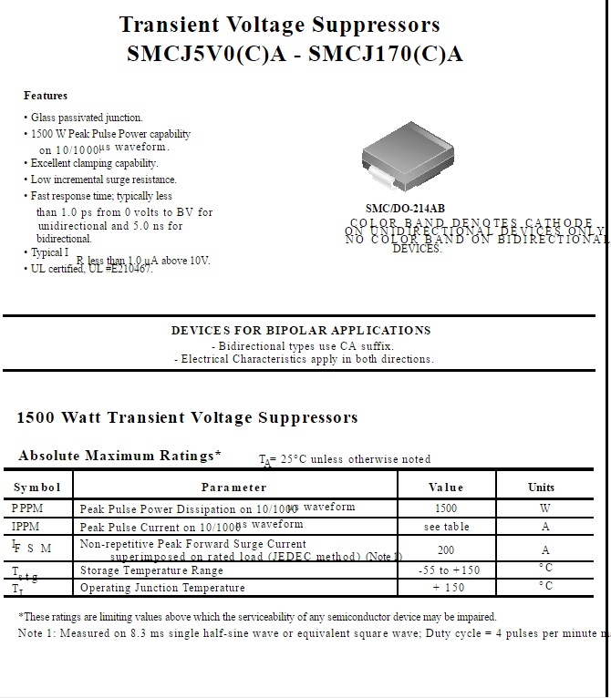TVS Diodes Transient Voltage Suppressors 600W 37V Bidirect 10 pieces