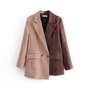 womens jackets and coats new style fashion irregular design sense color matching plaid suit retro suit jacket women fashion stripes and color matching design money clip for men
