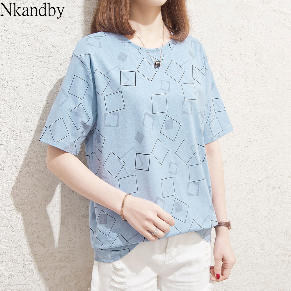Plus Size Plaid Tops T Shirt 2020 Summer Women Fashion Korean Short Sleeve Loose Tshirt Oversize Cotton Graphic T-shirt Female