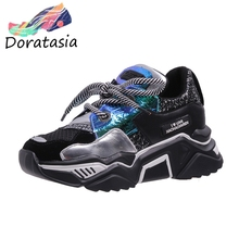 DORATASIA New INS Hot Sweet Girl Dad Shoes Woman Shining Glitters Platform Casual Flats