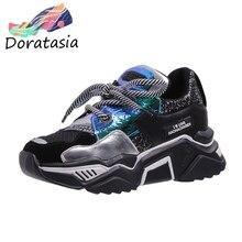 DORATASIA New INS Hot Sweet Girl Dad Shoes Woman Shining Glitters Platform
