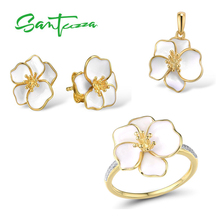 SANTUZZA  Jewelry Set for Women 925 Sterling Silver White Orchid Flower Pendant Earrings Ring Set Fine Jewelry Handmade Enamel цена и фото