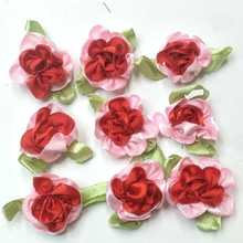 40pcs red color ribbon flowers with leaf handmade apparel sewing appliques DIY accessories A577