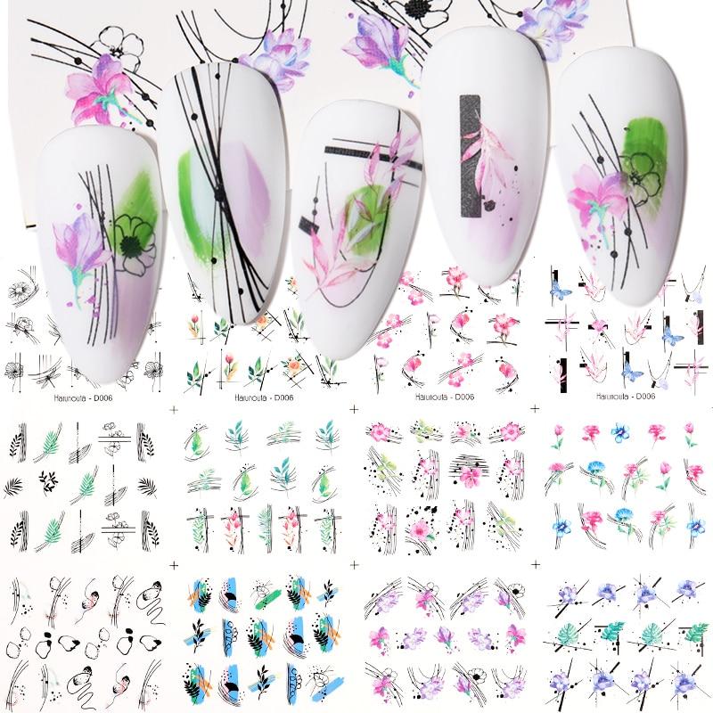 12 дизайнов в весеннем геометрической формы в виде цветов и листьев Набор наклеек для ногтей уход за кожей лица изображение бабочка фрукты н...