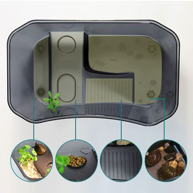 Reptile Vivarium Box For Turtles - Tortoise - Frogs - Amphibians with Basking Ramp  6