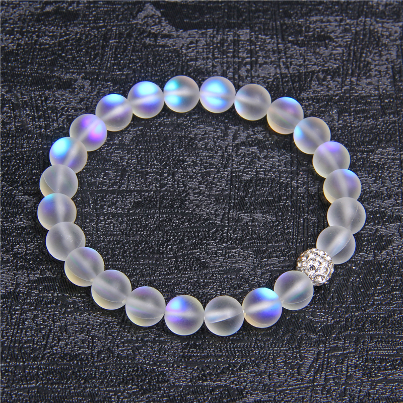 Moonstone Stone Beaded Bracelet For Women Men Chakra Yoga Shining Stone Beaded Charm Bracelet Handmade Wristband Gifts Jewelry