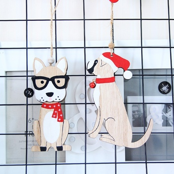 2020 Cute Dog Design Wooden Christmas Pendants Xmas Tree Hanging Drop Ornaments Holiday Party Supplies New Year Gifts image