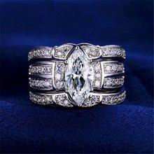 I & FDLK-anillo de compromiso clásico 3 en 1 para mujer, sortijas de boda para mujer, corte Marquesa, circonia AAAAA, CZ, joyería para dedo para mujer