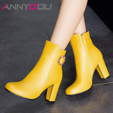 купить ANNYMOLI Autumn Ankle Boots Women Crystal Zip Thick High Heels Short Boots Buckle Square Toe Shoes Lady New Winter Big Size 3-12 по цене 1582.69 рублей